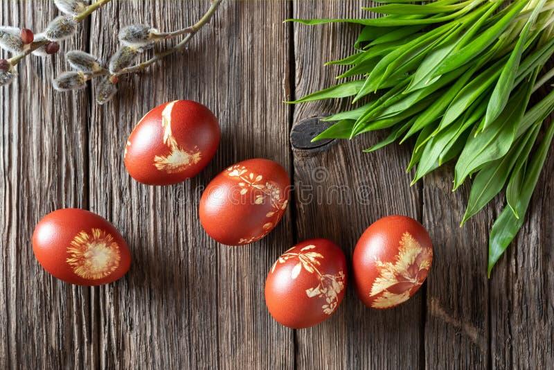 Пасхальные яйца покрашенные с корками лука с диким чесноком стоковое фото rf