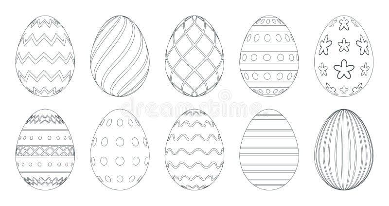 Пасхальные яйца для книжка-раскраски Установите черно-белых пасхальных яя изолированных на белой предпосылке иллюстрация штока
