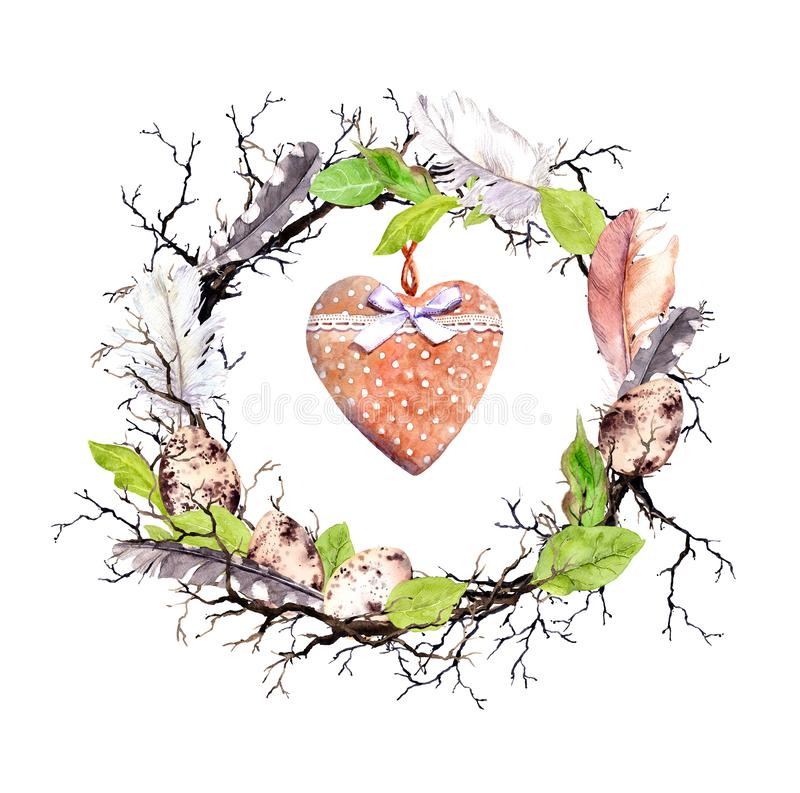 Пасхальные яйца, хворостины, листья весны, пер, винтажное сердце Флористическая карточка пасхи Акварель в деревенском, сельском с стоковое изображение rf