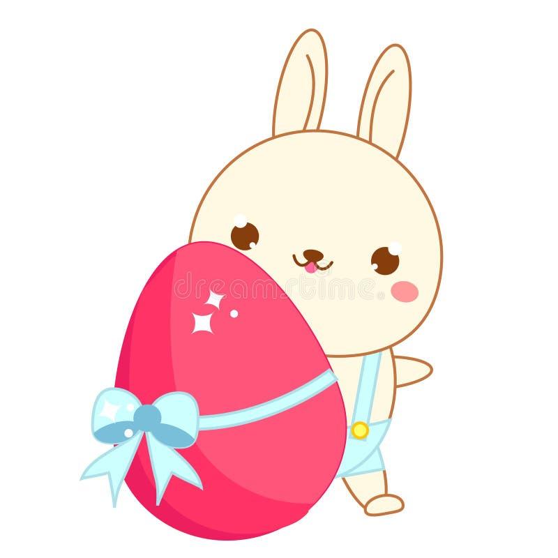 пасхальное яйцо зайчика Кролик мультфильма милый в стиле kawaii Изолированное искусство зажима, стикер для дизайна пасхи иллюстрация вектора