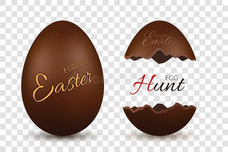пасхальное яйцо 3d Шоколад - коричневые все и сломленные яйца установили изолированную белую прозрачную предпосылку конфета тради иллюстрация штока