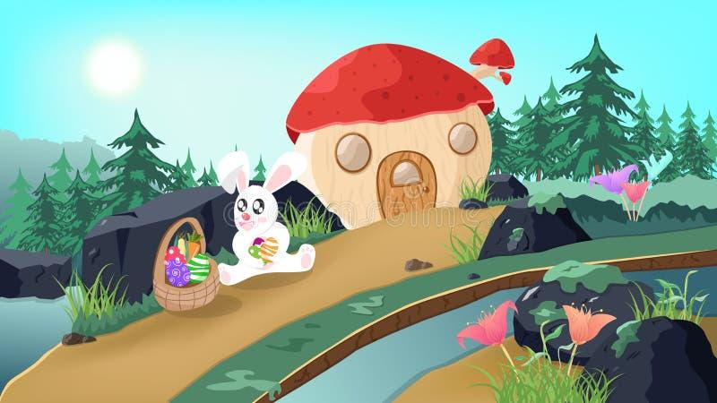 Пасха, зайчик в стране чудес, рассказе фантазии дома гриба, милом яйце удерживания кролика в предпосылке плаката природы, сезонно иллюстрация вектора
