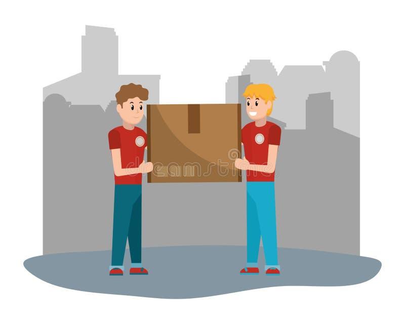 Парни доставки с коробкой бесплатная иллюстрация