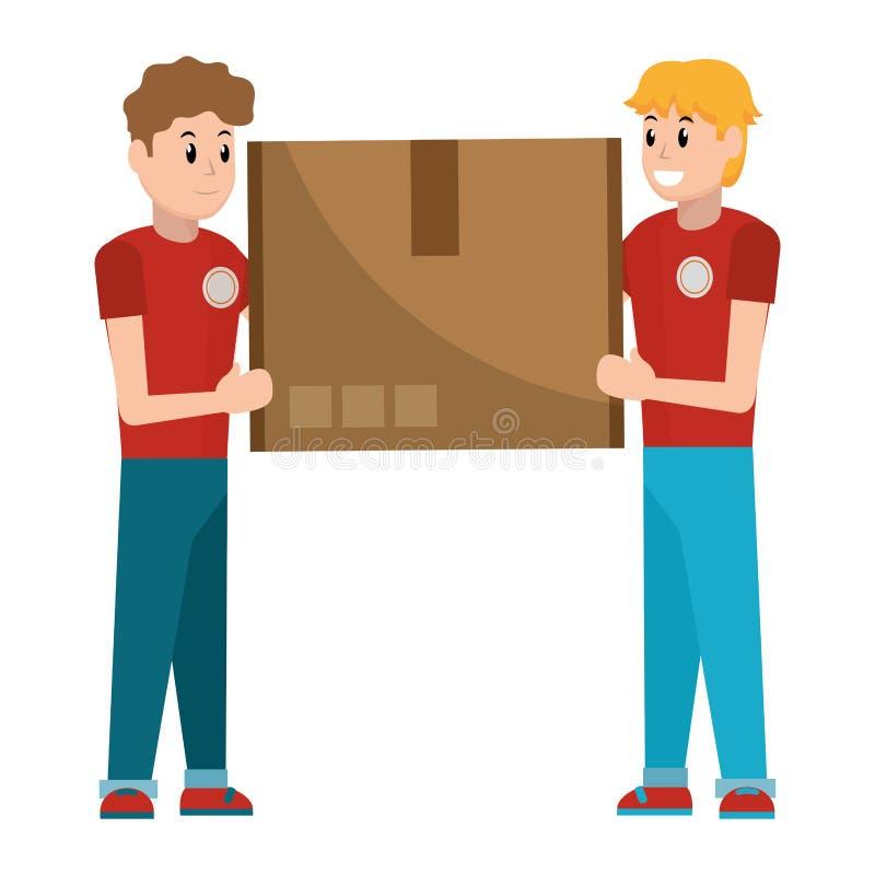 Парни доставки с коробкой иллюстрация штока