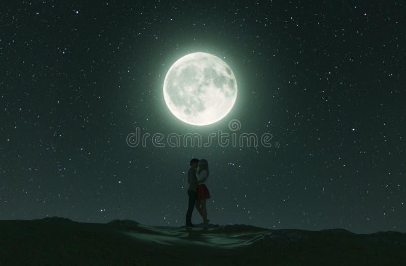 Пары любов под лунным светом иллюстрация штока