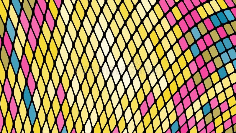 Пестротканая абстрактная предпосылка желтых, голубых, розовых квадратов, косоугольников, плиток прямоугольников, мозаики со швами иллюстрация штока