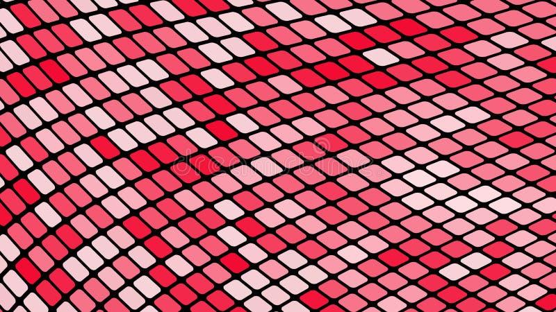 Пестротканая абстрактная предпосылка красных площадей, косоугольников, плиток прямоугольников, мозаики со швами накалять волшебны иллюстрация вектора