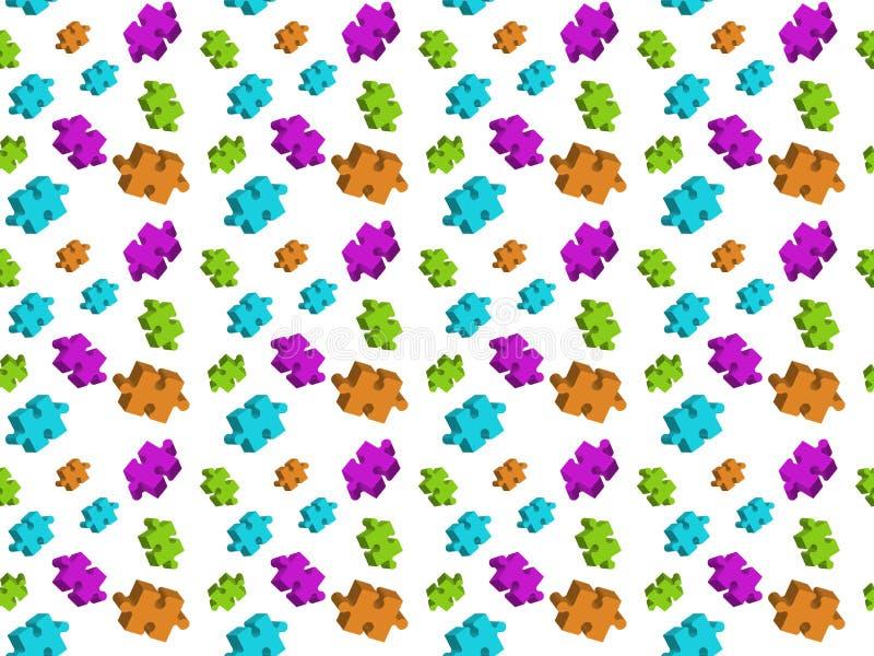 Пестротканые элементы головоломки на белой предпосылке, безшовной текстуре бесплатная иллюстрация
