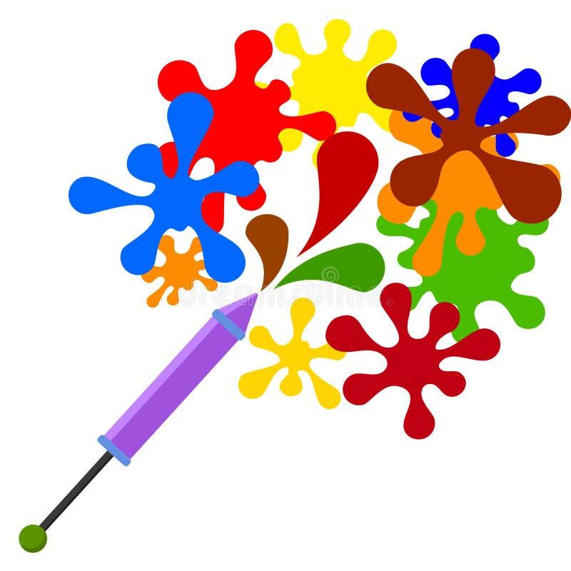 Пестротканый брызгает муху из шприца для красок на белизне иллюстрация штока