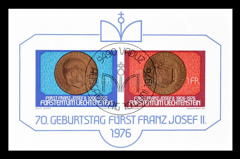 Печати почтового сбора напечатанные Лихтенштейном стоковое изображение rf