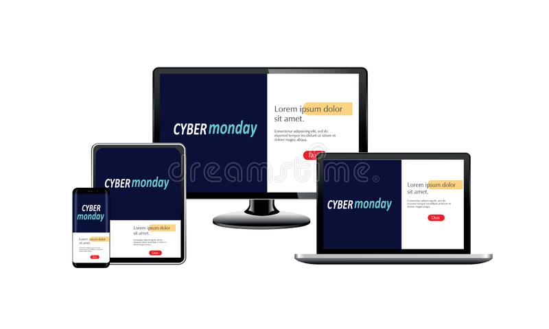 Adaptive landing page on computer smartphone and tablet, cyber monday, vector. Illustration royalty free illustration