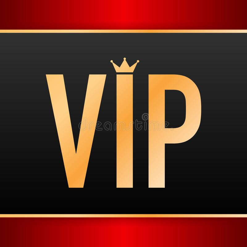 Golden symbol of exclusivity, the label VIP with glitter. Very important person - VIP icon on dark background. Sign of exclusivity with bright, Golden glow vector illustration