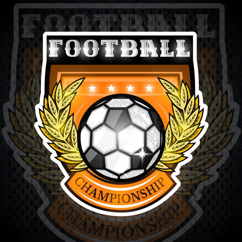 Soccer ball with golden laurel wreath in center of shield. Sport logo for any football team royalty free illustration