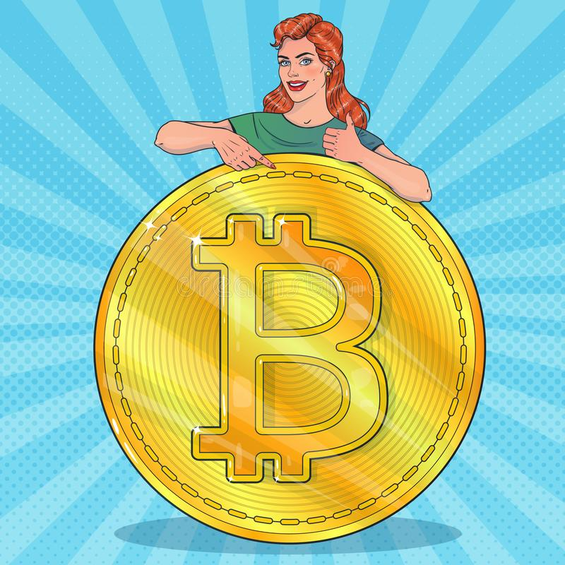 Woman with big bitcoin. Smiling woman. Gestures thumbs up. stock illustration