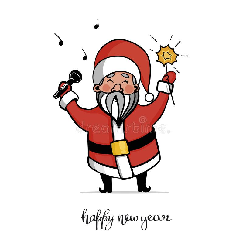 Santa Claus in a suit with microphone, sing songs. Keeps the Bengal fire. vector illustration. Can be used for greeting cards, posters. Christmas, New year royalty free illustration