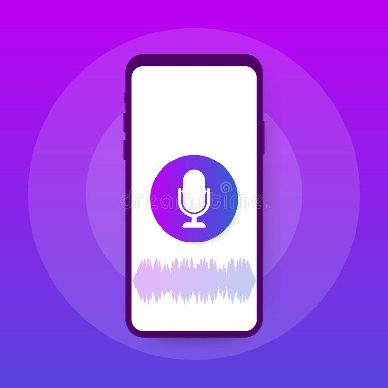 Vector flat voice recognition illustration. Landing page design. Smartphone screen with sound waves and microphone dynamic icon. Vector stock illustration royalty free illustration