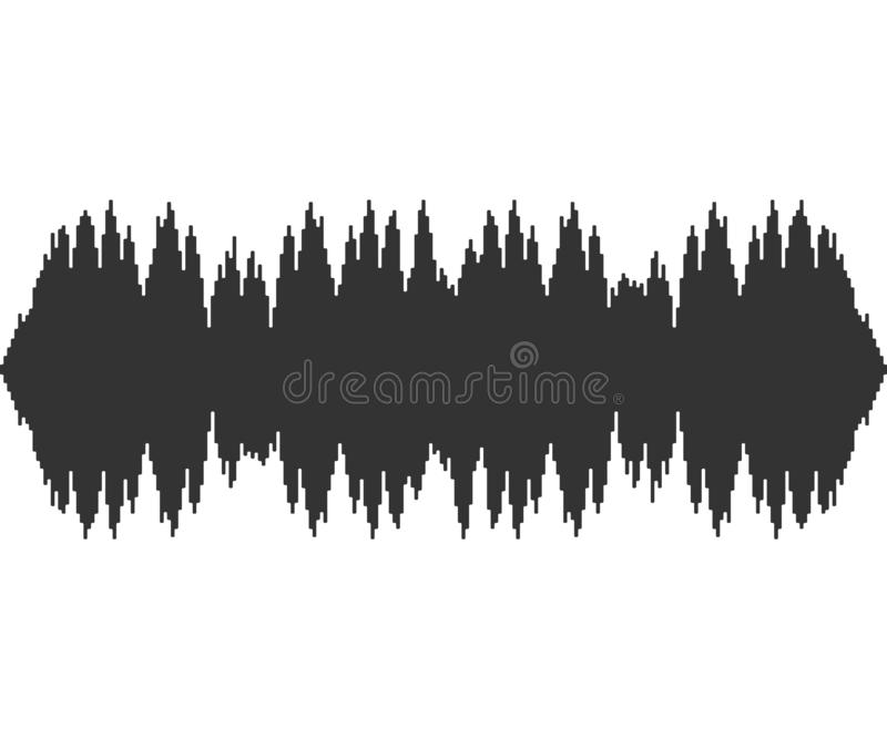 Black music sound waves on white background. Audio technology, musical pulse. Vector illustration. stock illustration