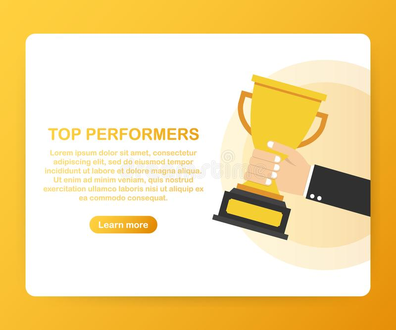 Top Performers. Website template designs. Vector illustration concepts for website and mobile website design and development. royalty free illustration