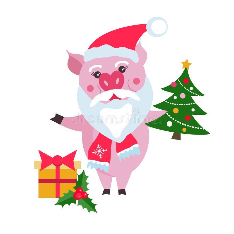 Cute pig Santa Claus with Christmas tree and gifts on white background, symbol in the Chinese calendar of the 2019 Year. vector illustration