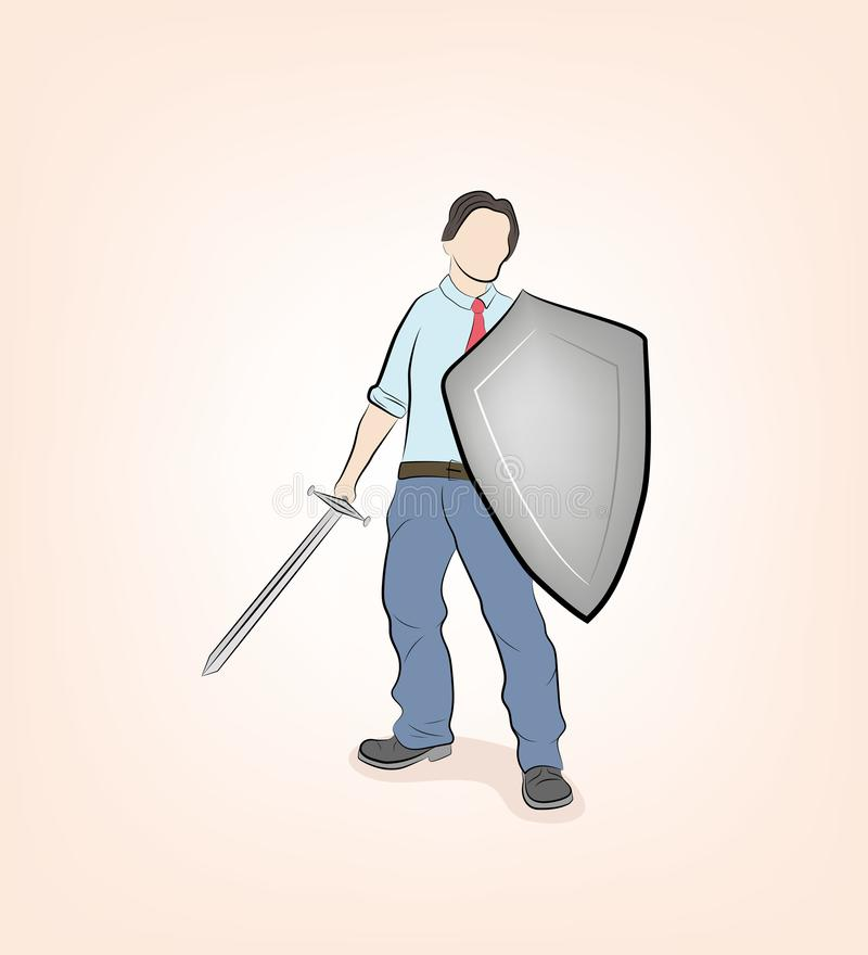 Businessman stands with a sword and shield. ready to defend and attack. business war. vector illustration. Businessman stands with a sword and shield. ready to royalty free illustration