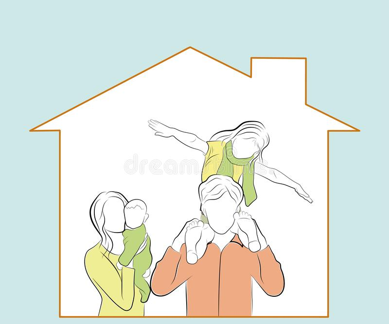 Children with parents are watching from home. happy family in their home. vector illustration. stock illustration