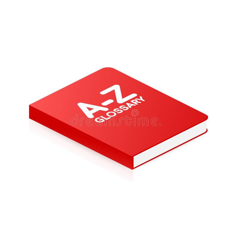 Concept A-Z glossary book for web page, banner, social media. Vector illustration vector illustration