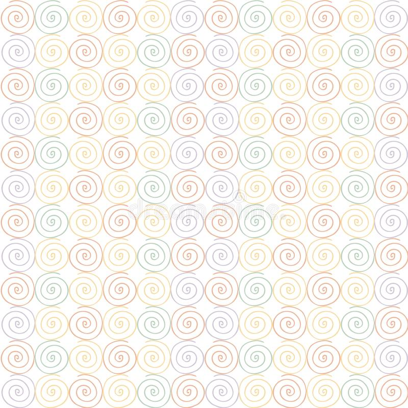 Seamless swirl pattern. Orange, red. green, yellow, violet swirls. On white design element stock vector illustration for web, print, fabric print stock illustration