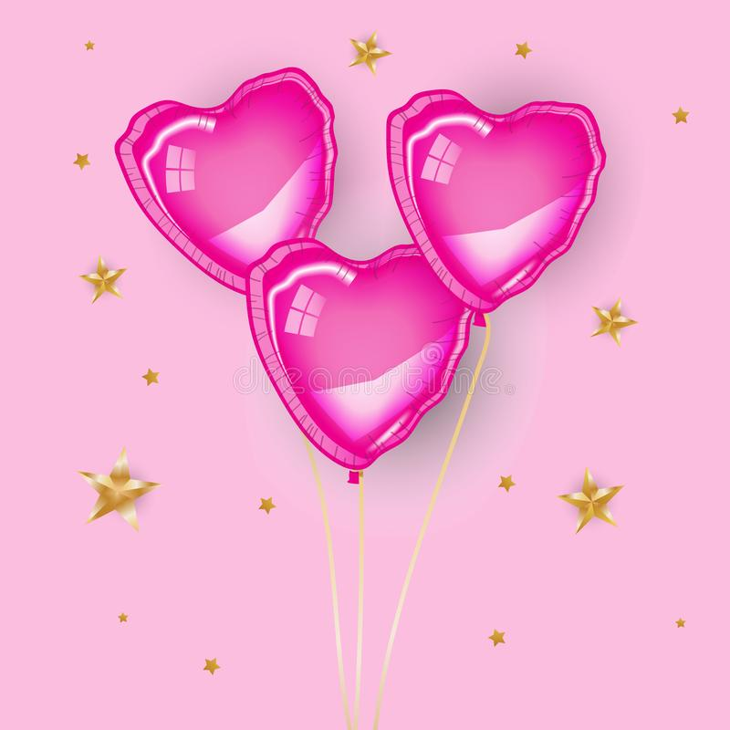 Three pink heart baloons. Flying on pink background, Gold stars. Valentine`s day, greeting card, banner, poster, flyer. Love, romantic, sweet, girl, happy stock illustration