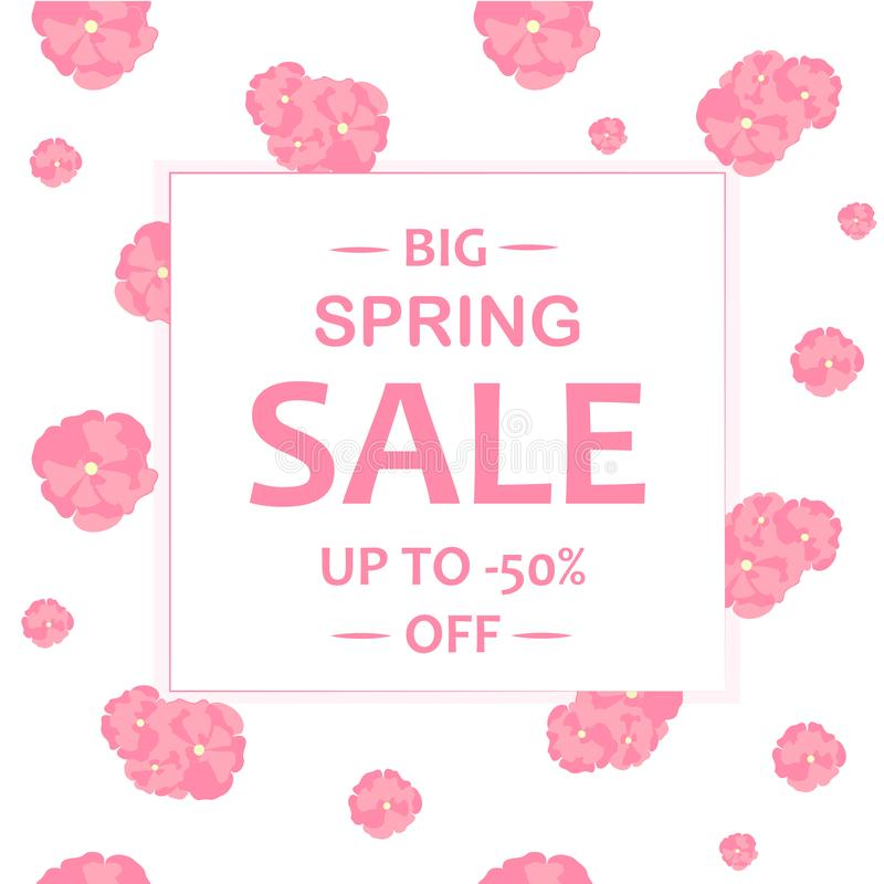 Typography banner Spring sale. Sakura flowers seamless pattern. Abstract pink flowers on white background stock illustration