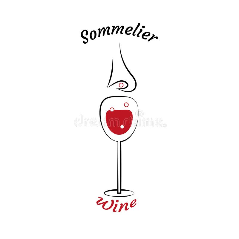 Glass of wine and sommelier`s nose. Choice of wine. Elements for restaurant menu, school sommelier in linear style. royalty free illustration