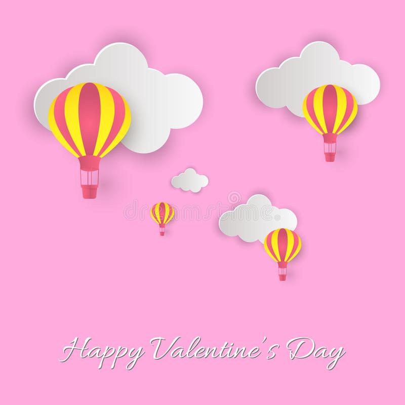 Happy Valentine`s Day! Beautiful clouds and air balloons! Abstract paper art 3D vector illustration on pink background. Valentines Day card stock illustration