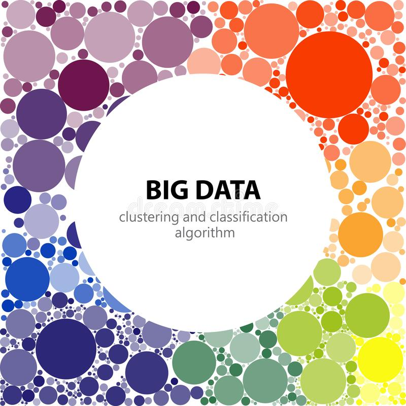 Big data visualization. Visual representation of recognition, classification and clustering algorithms stock illustration