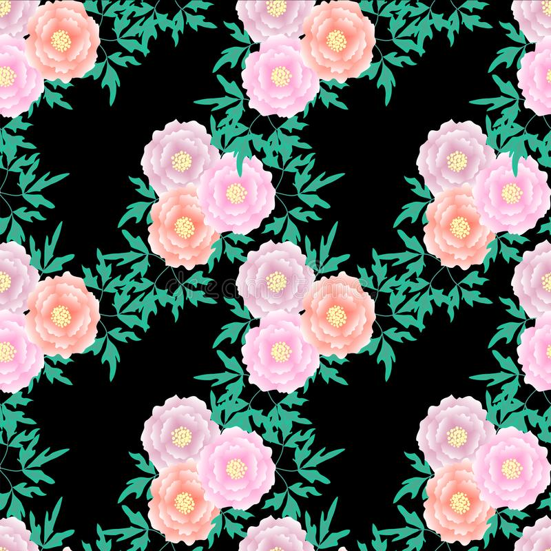 Tree peony seamless pattern background on black. Watercolor pink flowers, green leaves design element stock vector illustratio royalty free illustration