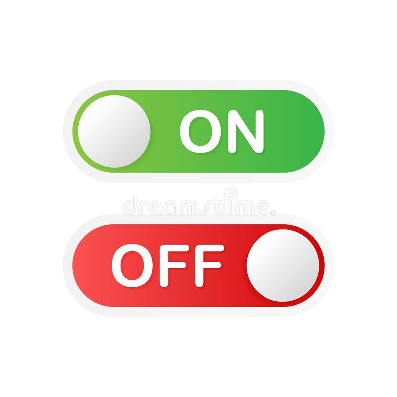 Flat icon On and Off Toggle switch button vector format. Vector illustration. royalty free illustration