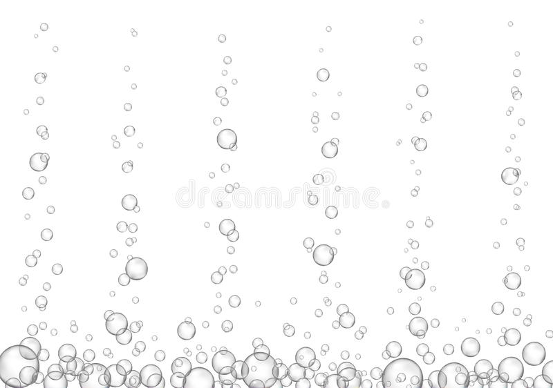 Vector fizzy drink stream isolated on white background. Underwater oxygen fizzing bubbles texture. Macro object stock illustration