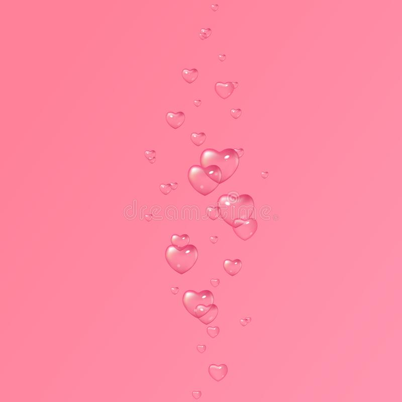 Vector pink background with bubbles in shape of hearts, Valentine`s Day, Women`s Day. Design for greeting card, poster and invitation of the wedding vector illustration