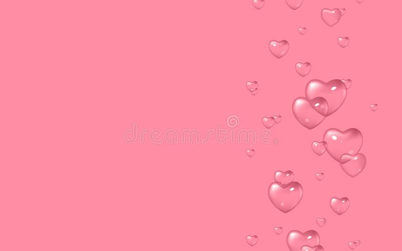Vector pink background with bubbles in shape of hearts, Valentine`s Day, Women`s Day. Design for greeting card, poster and invitation of the wedding royalty free illustration