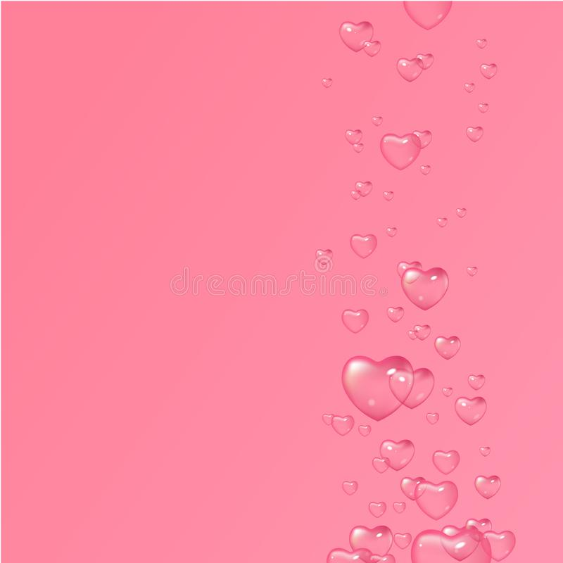 Vector pink background with bubbles in shape of hearts, Valentine`s Day, Women`s Day. Design for greeting card, poster. And invitation of the wedding stock illustration