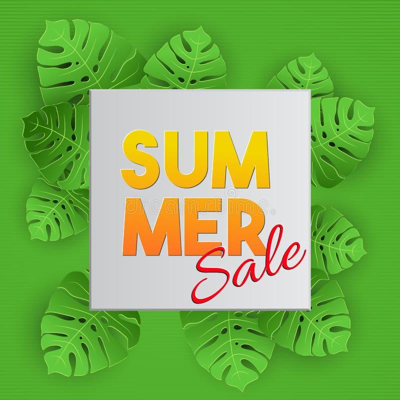 Tropical vector illustration with palm leaves on green background. Sammer Sale lettering banner. stock illustration