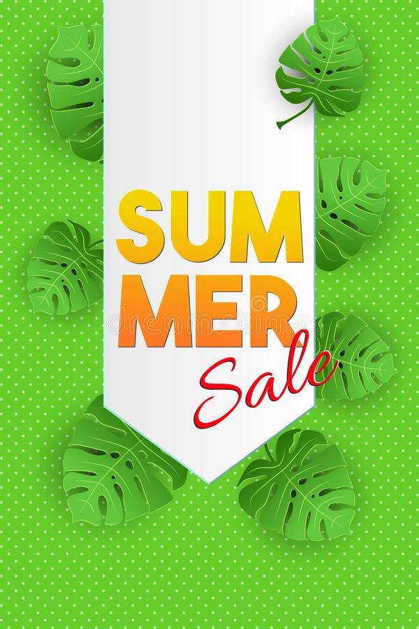 Tropical vector illustration with palm leaves on green background. Sammer Sale lettering banner. Paper art style vector illustration