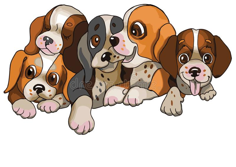 Five happy little dogs royalty free illustration