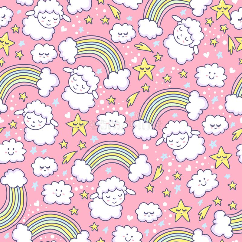 Sugar seamless pattern with sheep, rainbow, star and cloud. royalty free illustration