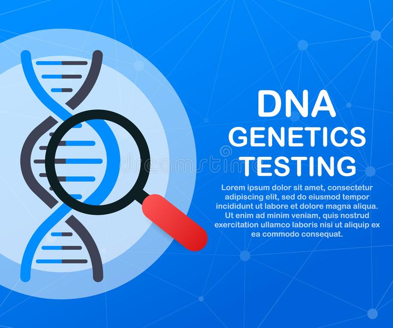 DNA testing, genetic diagnosis concept. Genetic engineering concept. Can use for web banner. Deoxyribonucleic acid. stock illustration