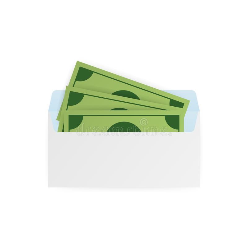 Some dollar bills in white envelope. Send money concept. Vector illustration. royalty free illustration