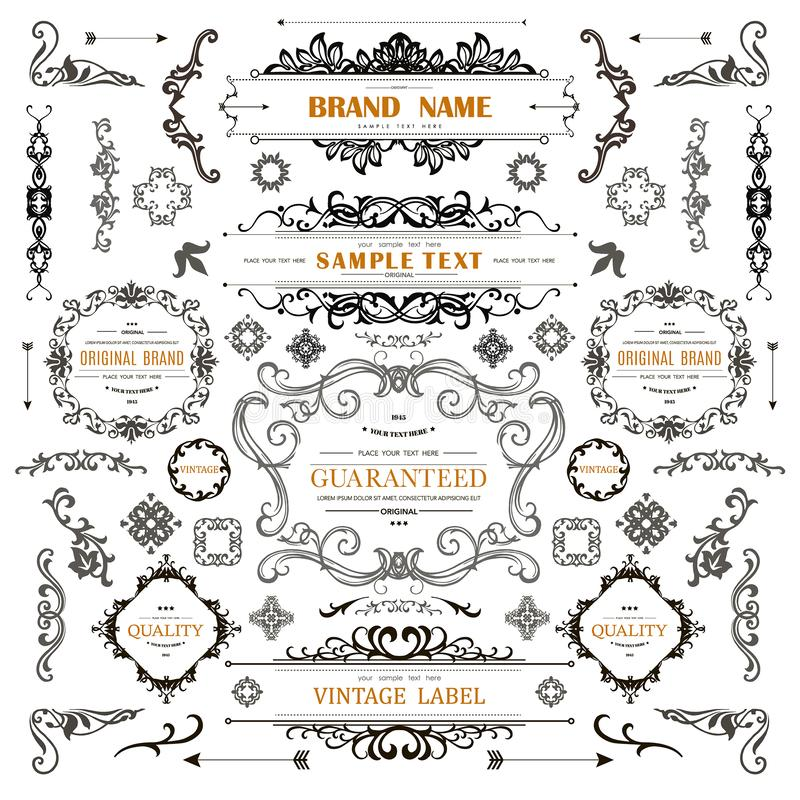 Set of Vintage Decorations Elements. royalty free illustration