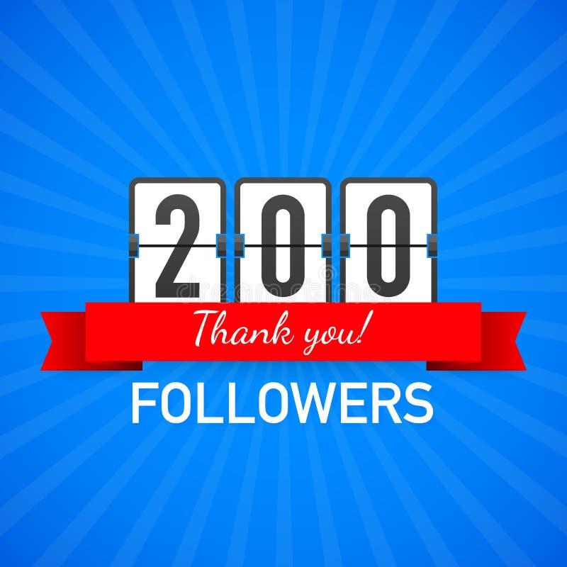 200 followers, Thank You, social sites post. Thank you followers congratulation card. Vector illustration. 200 followers, Thank You, social sites post. Thank stock illustration