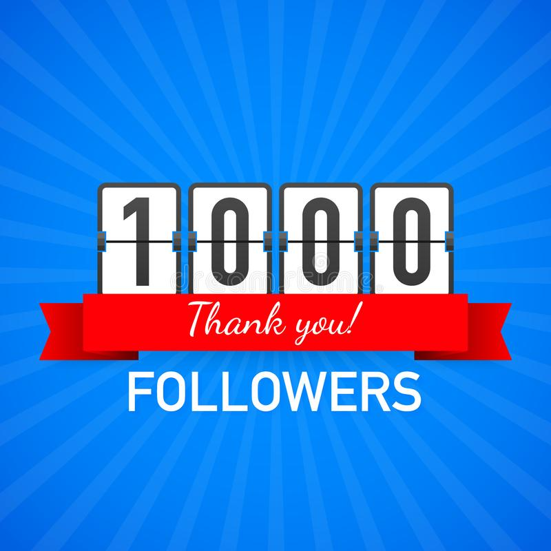 1000 followers, Thank You, social sites post. Thank you followers congratulation card. Vector illustration. 1000 followers, Thank You, social sites post. Thank royalty free illustration