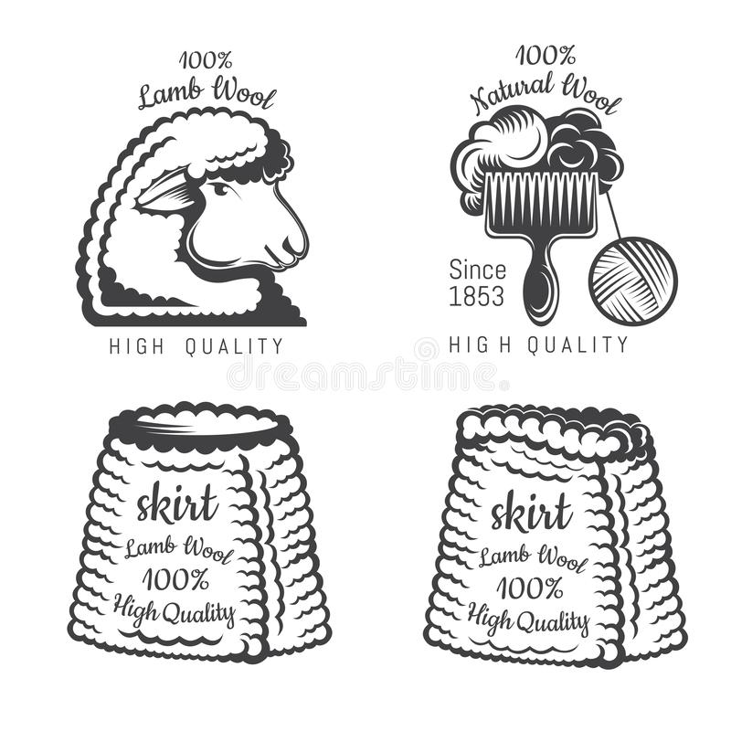 Set of wool labels sheep and tweed skirt. Logo for knitted craft related site or business. Set of wool labels sheep and tweed skirt. Logo for knitted craft vector illustration