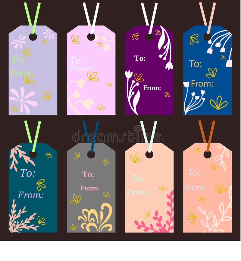 Labels of different colors with floral ornaments on a dark color. Label vectors stock illustration