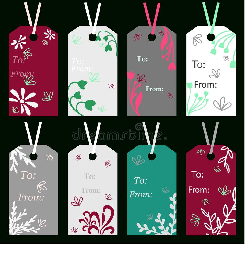 Labels of different colors with floral ornaments drawn on a dark color. Label vectors royalty free illustration